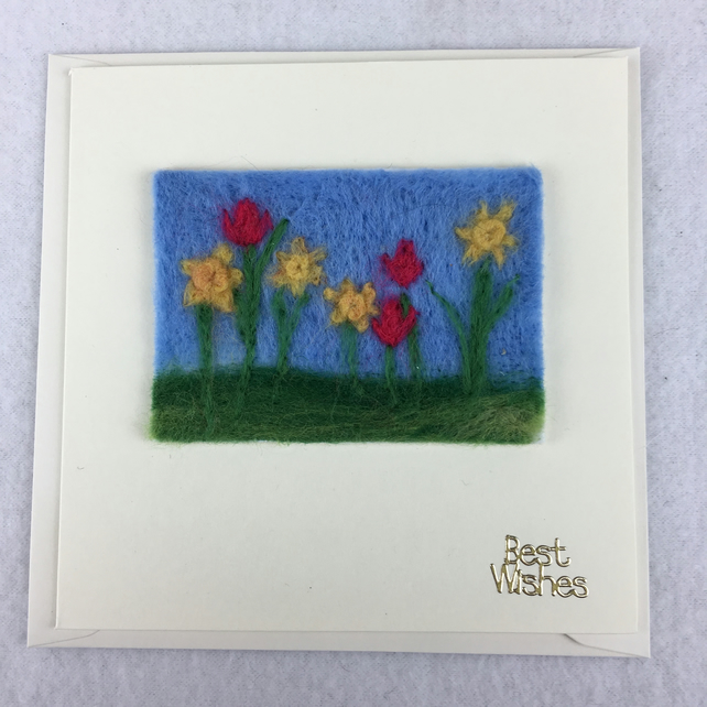 ACEO greeting card, needle felted daffodils and tulips, removable aceo