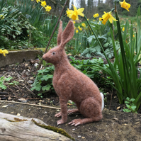 Needle felted brown hare, woodland animal, collectable ornament or decoration