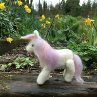 Collectable needle felted unicorn ornament, decoration