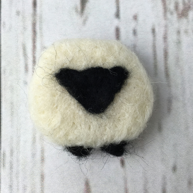 Needle felted sheep brooch