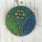 Needle felted, beaded floral brooch, green-blue