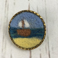 Brooch, badge or lapel pin, needle felted sailing boat