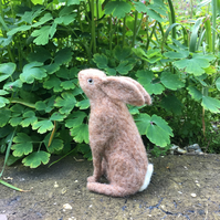 Needle felted moon gazing brown hare, collectable ornament or decoration