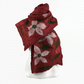 Merino wool scarf, nuno felted floral scarf in dark red