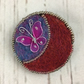 Needle felted, beaded butterfly brooch in lilac and red