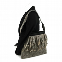 Felted hand bag, shoulder bag, embellished with curly wool locks
