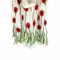 White merino wool poppy scarf nuno felted on silk chiffon