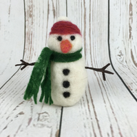 Snowman, needle felted, Christmas decoration