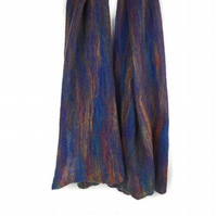 Rainbow merino wool scarf nuno felted on blue silk chiffon