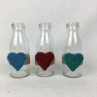 Simple bottle vase with needle felted heart, various colours