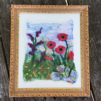 Felted picture, textile art, poppies