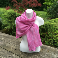Pink and lilac merino wool scarf nuno felted on silk chiffon
