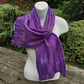Nuno felted merino wool and silk scarf in purples and pinks