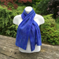 Merino wool scarf, nuno felted on silk chiffon in blue shades