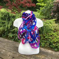 Random blue, purple and pink open weave felted scarf in merino wool