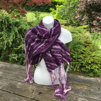Nuno felted scarf, merino wool on silk with fancy yarn embellishment, purple