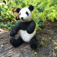 Needle felted collectable panda teddy bear