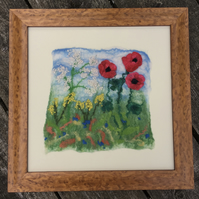 Framed, wet felted poppy picture SALE