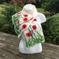 White poppy scarf with grass border, merino wool nuno felted on silk chiffon