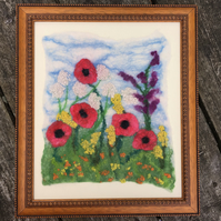Felted picture, textile art, wild flowers and poppies, framed