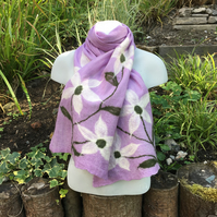 Lilac merino wool nuno felted scarf with white flowers