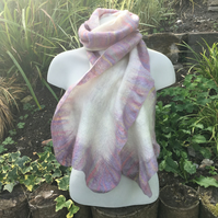 White nuno felted scarf with pastel coloured border, merino wool on silk