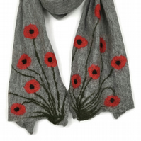 Nuno felted long grey poppy scarf, merino wool on silk