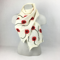 White merino wool nuno felted poppy scarf, longer length