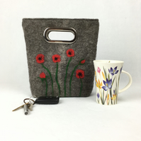 Felted handbag, grab bag, bucket bag with poppy design