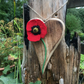 Rustic wooden hanging heart with hand felted poppy