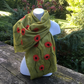 Nuno felted poppy scarf in lichen green, merino wool on silk