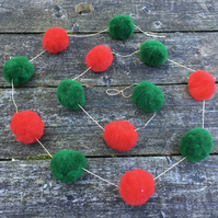 Christmas pom pom garland, red and green on gold thread