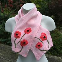 Nuno felted scarflette or neck warmer, pink with poppies