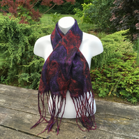 Merino wool felted scarf with silk embellishment