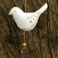 Christmas hanging decoration, white felt bird, peace dove with gold accents