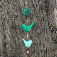 felt hanging bird decoration in greens