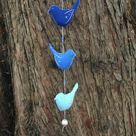 String of 3 felt birds, blue