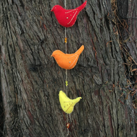 Felt bird hanging decoration in red,orange and yellow