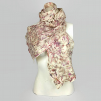 Merino wool felted scarf with silk fibres