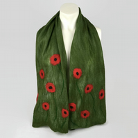 Green merino wool nuno felted scarf, shorter length