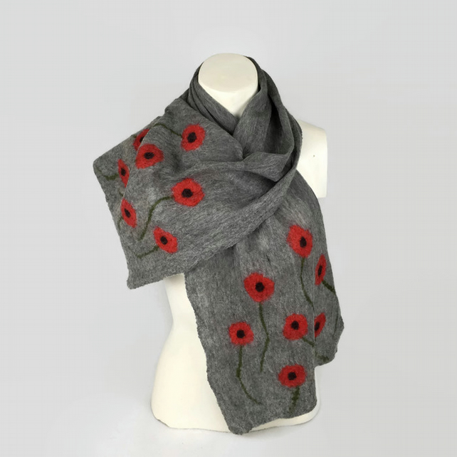 Grey shorter length nuno felted merino wool poppy scarf