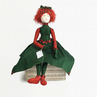 Hand made collectable cloth art doll - Holly