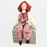 Hand made collectable cloth art doll - Charlie