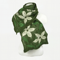 Green merino wool nuno felted long scarf with large white flowers