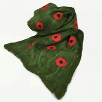 Nuno felted long green merino wool scarf