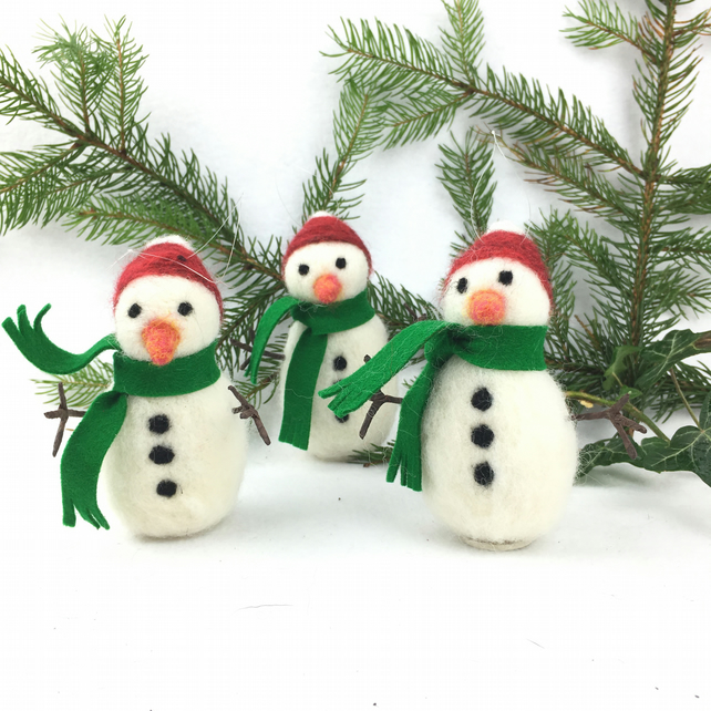 Needle felted snowman christmas decoration