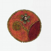 Needle felted and beaded flower brooch - orange