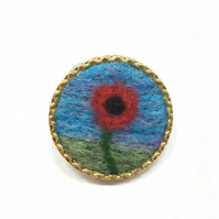 Brooch, badge or lapel pin, needle felted poppy