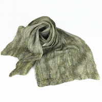 Lightweight, nuno felted wool and silk scarf in a blend of green