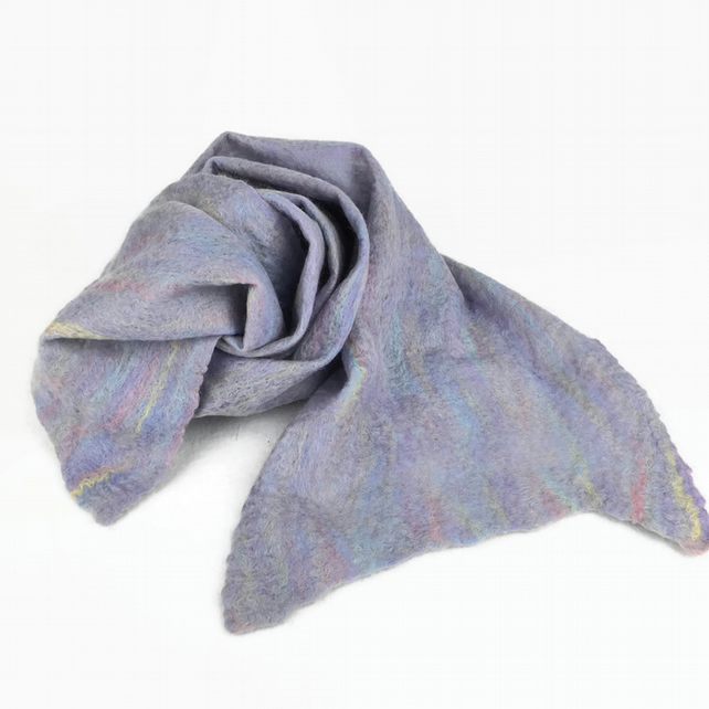 Long, merino wool felted scarf in pastel colours